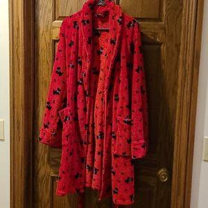Red Scottie Dog Robe M Cabernet